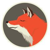 Wild animals collection Red fox Geometric style Round frame Royalty Free Stock Photo