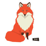 Wild animals collection Sitting Red Fox Geometric style. Set Royalty Free Stock Photography