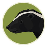 Wild animals collection Skunk Geometric style icon round Royalty Free Stock Photo