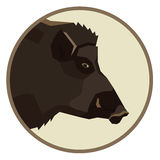 Wild animals collection Wild boar Geometric style  icon round Royalty Free Stock Photo