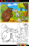 Wild Animals for Coloring. Coloring Book or Page Cartoon Illustration of Funny Wild Animals for Children Education Royalty Free Stock Photos
