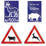 Wild Animals Crossing Signs In Germany Stock Images