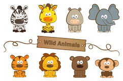 Wild Animals. Cute set of eight wild animals. Eps10 Royalty Free Stock Image