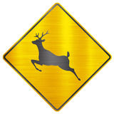 Wild animals deer safety sign Royalty Free Stock Photography