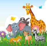 Wild animals in the field. Illustration Stock Photos