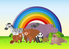 Wild animals in the field with rainbow in background. Illustration Stock Image