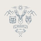 Wild animals. Flat line illustration. Logo design Stock Image