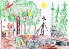 Wild animals in forest and hunter with dog. child drawing Stock Photography