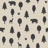 Wild animals in the forest pattern Royalty Free Stock Photos