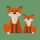Wild animals Foxes.  vector illustration of a flat Stock Image