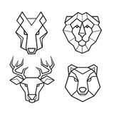 Wild animals geometric head vector set Stock Images
