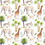 Wild animals - giraffe, elephant, cheetah, antelope. Savannah with palm trees. Repeating background. Watercolor Royalty Free Stock Photography