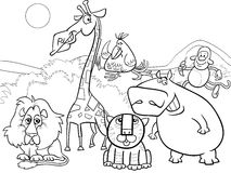 Wild animals group coloring page Royalty Free Stock Photos
