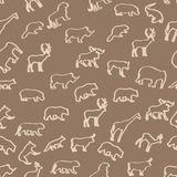 Wild animals hand drawn seamless pattern. Stock Photos
