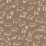 Wild animals hand drawn seamless pattern. Stock Photos