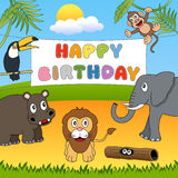 Wild Animals Happy Birthday Royalty Free Stock Photos
