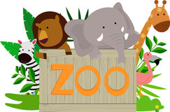 Wild animals holding wooden zoo plate Stock Images