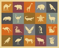 Wild animals icons set Royalty Free Stock Photography