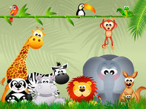 Wild animals. Illustration of wild animals in the jungle Stock Photography
