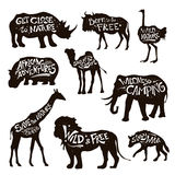 Wild Animals Lettering Black Icons Set Royalty Free Stock Photo