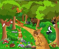 Wild animals life living in the forest: a fox chasing away a fawn deer stock illustration