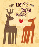 Wild animals love couple deer greeting card. Stock Images