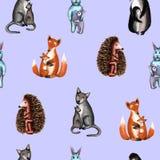 Wild animals, mom hugs baby, pattern. Watercolor illustration. Mother day vector illustration