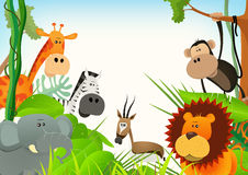 Wild Animals Postcard Background Royalty Free Stock Photos
