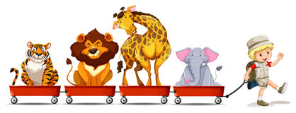Wild animals on red wagon Stock Images