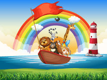 Wild animals riding on rowboat Royalty Free Stock Images