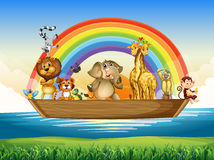 Wild animals riding on rowboat Stock Photos