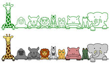 Wild animals in a row with copy space stock illustration