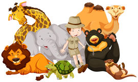 Wild animals and safari kid. Illustration Stock Photos
