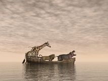 Safe animals - 3D render. Wild animals safe on a wooden boat by sunset - 3D render Royalty Free Stock Photography