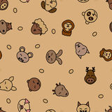 Wild animals seamless pattern background. Textile for baby pet. Vector nature. Kid sleeping design. Royalty Free Stock Photo