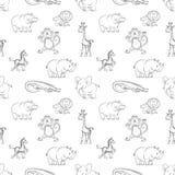 Wild animals seamless pattern cartoon style Royalty Free Stock Photo