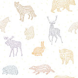 Wild animals seamless pattern Stock Photography