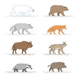 Wild animals. A set of figures of wild animals for infographics isolated on white background Stock Images