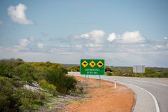 Wild animals sign on West Australia Desert endless road Stock Image