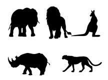 Wild animals silhouette Royalty Free Stock Photo