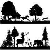 Wild animals silhouettes in green fir forest vector illustration. Silhouette of animal in nature, wood tree pine and animals Royalty Free Stock Photo