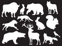 Wild animals silhouettes set Royalty Free Stock Photography