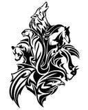 Wild animals spirits black vector design. Wild animals spirits united - wildlife black and white tribal style vector design Royalty Free Stock Image