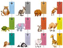 Wild animals and time tables template. Illustration Stock Photo