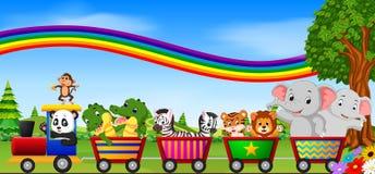Wild animals on the train with rainbow illustration vector illustration