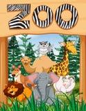 Wild animals under zoo sign Stock Photo