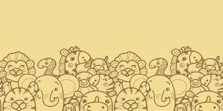 Wild animals vector horizontal seamless pattern Royalty Free Stock Photos