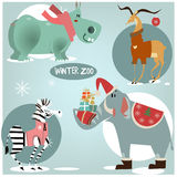 Wild animals in winter clothes Royalty Free Stock Photos