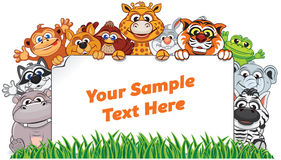 Free Wild Animals With Paper Sign. Vector Illustration Royalty Free Stock Images - 85002189