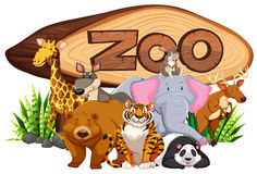 Wild animals by the zoo sign. Illustration Royalty Free Stock Images